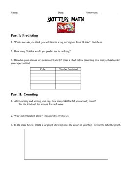 Skittles Math - Worksheet