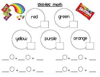 skittles math addition by kindermoments teachers pay teachers. Black Bedroom Furniture Sets. Home Design Ideas