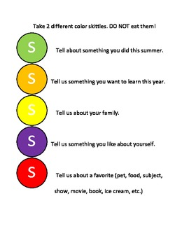 Skittles get to know activity