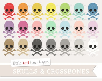 Skull & Crossbones Clipart; Halloween, Bone