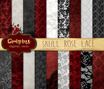 Skull Rose Lace Digital Paper, vintage gothic halloween backgrounds