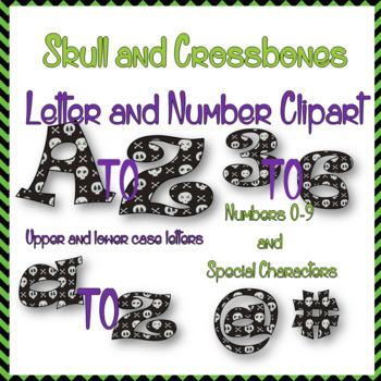 Skull and Crossbones Halloween Alphabet Clipart- letters, numbers, characters