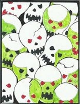 Skulls Halloween Color By Number
