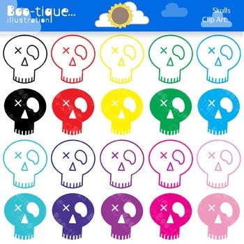 Skulls Clipart. Halloween Clip Art. Halloween Skulls Clip Art. Rainbow Skulls