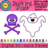 Skulls and Ghosts Digital Moveable Clip Art
