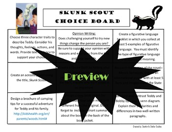 Skunk Scout Choice Board Novel Study Activities Menu Book Project Rubric