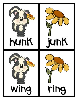 Skunks! Consonant patterns ng, nk Literacy Centers