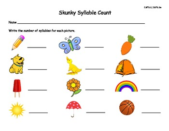 Skunky Syllable Sort Common Core