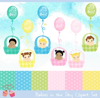 Sky Babies Clipart Set