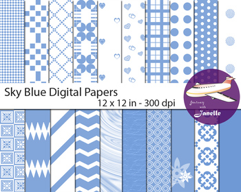 Sky Blue  Digital Papers for Backgrounds, Scrapbooking & C