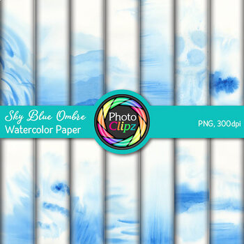 Sky Blue Ombre Watercolor Papers   14 Digital Backgrounds & Scrapbook Papers