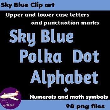 Sky Blue Polka Dot Alphabet Clip Art + Numerals, Punctuati