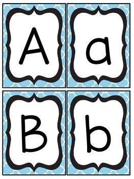 Sky Blue and Black Quatrefoil Number and Letter Cards