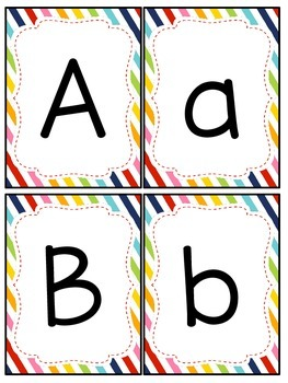 Rainbow Patterns Number and Letter Cards