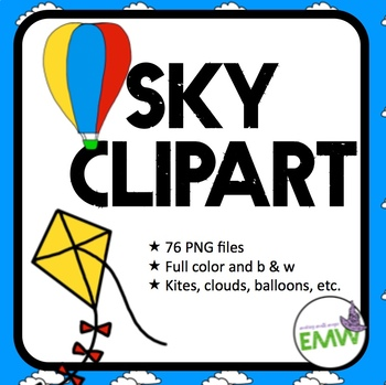 Sky Clip Art: kites, balloons, clouds, airplanes - 76 images
