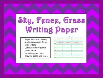 Sky, Fence, Grass Writing Paper