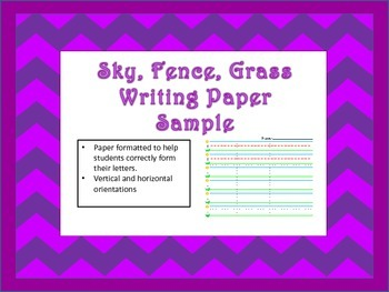 Sky, Fence, Grass Writing Paper Sample