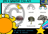 Sky & Weather Clip-Art Set: 8 B&W, 8 Color