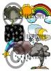 Sky & Weather Clip-Art Set: 8 B&W, 8 Color