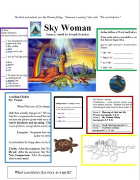 """Sky Woman"" Iroquois Creation Myth; Native American Folklore with ELA activities"