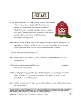 Skylark: The Study Guide for the Film (19 Pages, Answer Key Included, $10)
