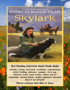 Skylark by Patricia MacLachlan ELA Novel Reading Study Guide