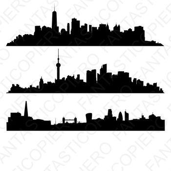Skyline Manhattan, Shanghai, London SVG files for Silhouette Cameo and Cricut.