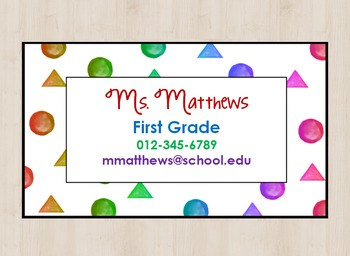 Rainbow Shapes Teacher Contact Info Business Card