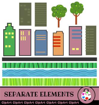 Skyscraper City Clip Art Building Set