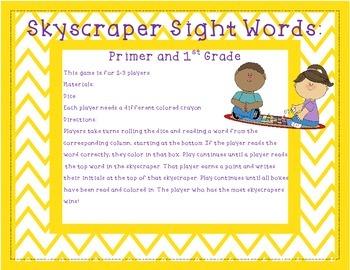 Skyscraper Sight Words Primer and 1st Grade