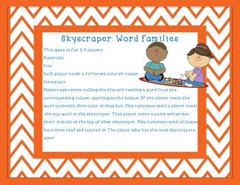 Skyscraper Sight Words- Word Families