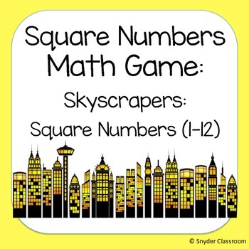 Square Numbers Math Game  (Facts 1-12)