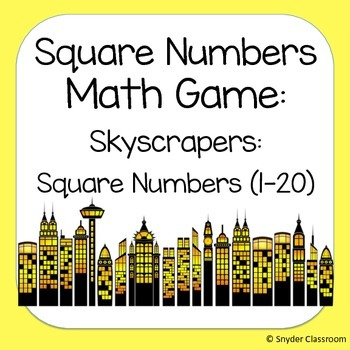Square Numbers Math Game  (Facts 1-20)
