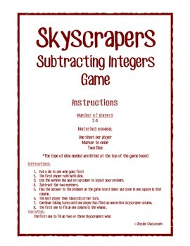 Subtracting Integers Math Game