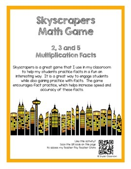 Multiplication Facts Math Game :Facts 2, 3, 5 (2 different game boards included)