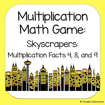 Multiplication Facts Math Game :Facts 4, 8, 9 (2 different game boards included)
