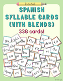 Spanish Syllable Cards (with blends) – 2 Sets of all Syllables, 338 Total Cards