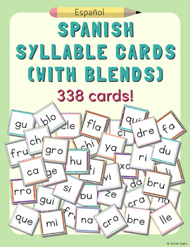 Spanish Syllable Cards (with blends) – 2 Sets of all Sylla