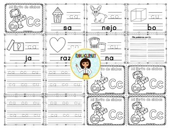 Sílabas - Mini librito sílabas con C/ Spanish Syllables mini book Letter C