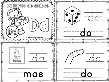 Sílabas - Mini librito sílabas con D/ Spanish Syllables mini book Letter D