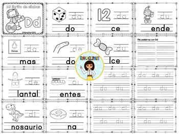 Sílabas - Mini librito sílabas con D/ Spanish Syllables mini book Letter D