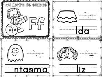 Sílabas - Mini librito sílabas con F/ Spanish Syllables mini book Letter F