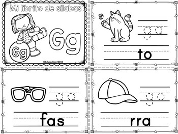 Sílabas - Mini librito sílabas con G / Spanish Syllables mini book Letter G