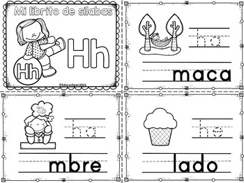 Sílabas - Mini librito sílabas con H / Spanish Syllables m
