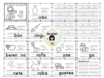 Sílabas - Mini librito sílabas con J / Spanish Syllables mini book Letter J