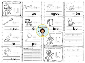 Sílabas - Mini librito sílabas con L / Spanish Syllables mini book Letter L