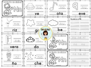 Sílabas - Mini librito sílabas con N/ Spanish Syllables mini book Letter N
