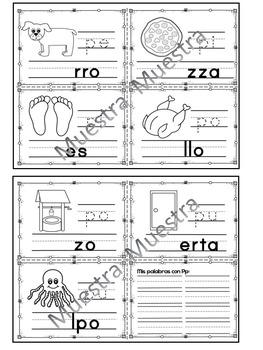 Sílabas - Mini librito sílabas con P/ Spanish Syllables mini book Letter P