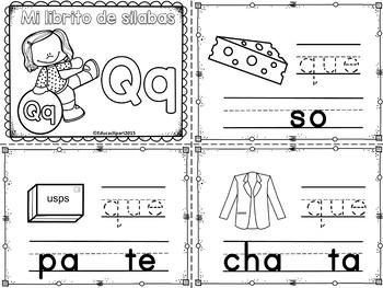 Sílabas - Mini librito sílabas con Q / Spanish Syllables mini book Letter Q