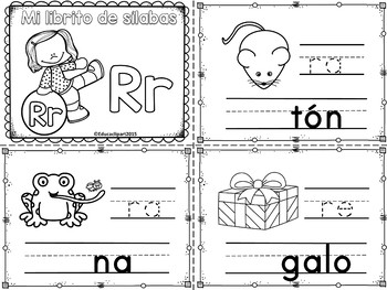 Sílabas - Mini librito sílabas con R/ Spanish Syllables mini book Letter R
